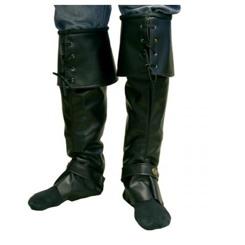 Deluxe Captains Boot Covers Black (Pirate)