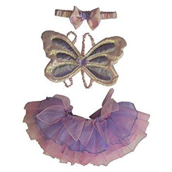 Mädchen Baby Kleinkind Butterfly Fairy Kostüm Flügel, Tutu & Haarband ()