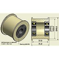 Pack de 4 x Nylon Cinturón Idler 40mm diámetro 27mm Groove 10mm Rodamientos Precisamente mecanizado en la UE (40-27-10)