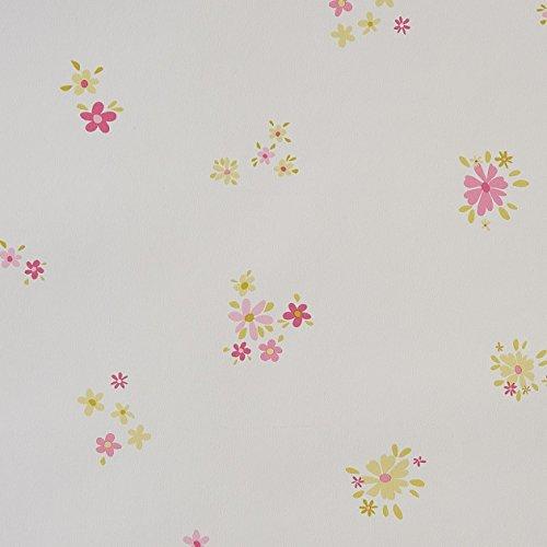 CASELIO ONLY Girl Pink und grünen in 62024070–Vliestapete mit kleine Blumen, Hintergrund Weiß