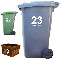 3 x Wheelie Bin Numbers and Street Name Stickers - Classic Style