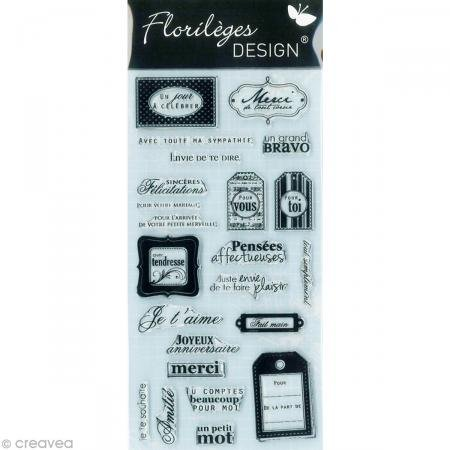 Florilèges Design FDCL112011 - Timbro per scrapbooking, fantasia: auguri e messaggi di congratulazione, 25 x 11,5 x 0,5 cm, colore: grigio [lingua francese]