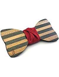 """GIGETTO Papillon in legno fatto a mano con nodo in tessuto rosso. Farfallino matrimonio. Cinturino regolabile in stoffa. Limited Edition """"Dandy"""""""
