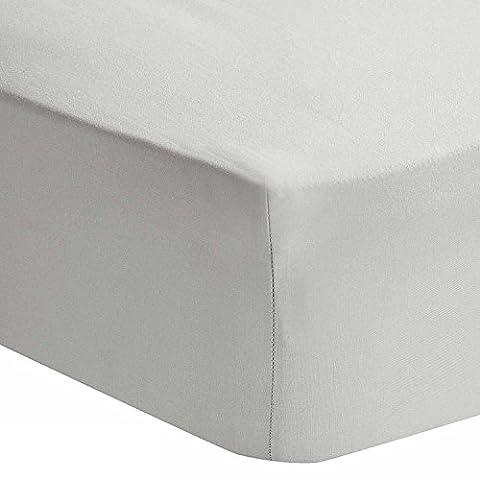 Homescapes - Drap-housse Gris Clair 100% coton Égyptien 200 fils - 160 x 200 cm