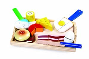 Wooden Cut and Play Playfood with Velcro/Cutting Activity Wooden Food for Toy Kitchen