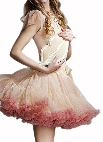 DELEY Donne Adulti Retro Sottogonna Vintage Fancy Petticoat Rockabilly Tutu Gonna Bianco rosso