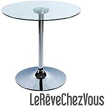 Presto–Mesa baja D 'auxiliar Design redonda de cristal templado 8mm–altura 68cm–Diámetro: 70cm–3colores a elegir): transparente, negro o Sablé, transparente