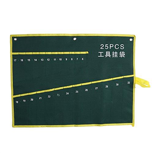 Estuche enrollable, Bolsa de Herramientas, Estuche porta herramientas Enrollable, bolso de herramienta de la llave de llave de la bolsa de los bolsillos para los artesanos de Handymen de la carpinterí(25PCS)