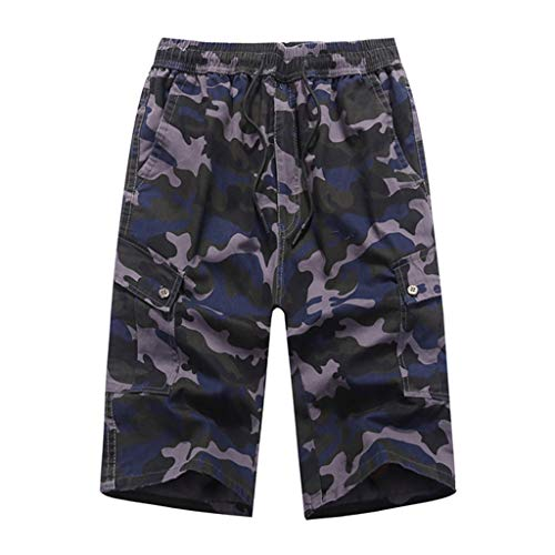 7 Pocket-cargo-shorts (Cargo Shorts Herren GreatestPAK Herren Sommer Tarnmuster Strandhose Sieben Punkte Sporthose lose Gürtel Tunnelzug Strand Kalbsleder Hose,Dunkelgrau,XL)