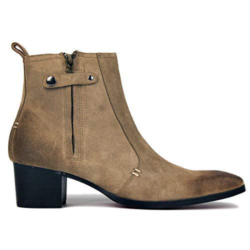 Stiefel für Männer High Heels Herren Kleid Schuhe Reißverschluss Stiefel OZ-JY004-Beige-suede-9 -