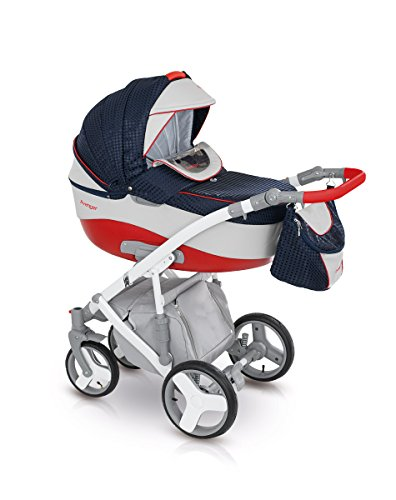Lux4Kids Kinderwagen Set Babywanne Sportsitz Babyschale Wickeltasche Matratze Buggy optionales Zubehör 3in1 VIP Luxus Made in EU Kinderwagen Avenger+ Autositz Rot-Pearlblue