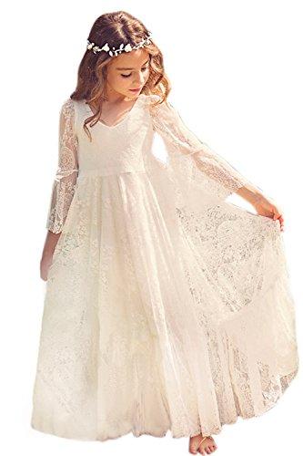Mädchen Prinzessin Kleid Spitzen Blumenmädchen Kleid Festkleid 100-155CM MisShow, Ivory white, 145(10-11 (Kleid Mädchen Prinzessin)