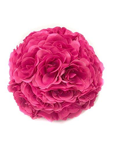 FireKingdom 9.84 Inch Satin Rose Flower Kissing Ball Bridal Bouquets for Wedding Party Decoration Dark Pink by FireKingdom - Pink Satin Ball