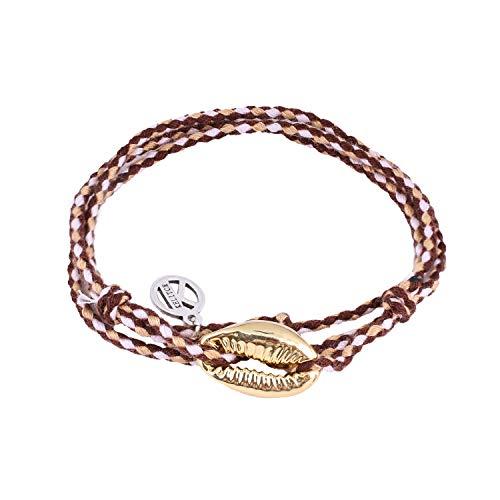 KELITCH Damen Armbänder für Frauen Herren Metall Conch Shell Einstellbar Handgemachte Geflochtenen Seil Armreif Charme Freundschaft Armband - Stil C