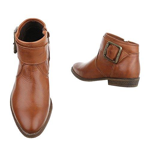 Chelsea Boots Leder Damenschuhe Chelsea Boots Blockabsatz Schnallen Deko Reißverschluss Ital-Design Stiefeletten Camel