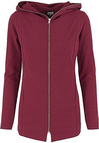 Urban Classics Kapuzenpulli Long Melange Zip Hoody - Sweat-Shirt Femme, Multicolore (Burgundy) - X-Large (Taille fabricant: X-Large)