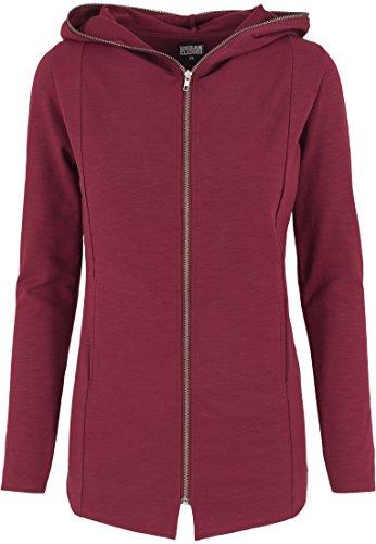 Urban Classics Damen Sweatshirt Kapuzenpulli Long Melange Zip Hoody Mehrfarbig (Burgundy) Large