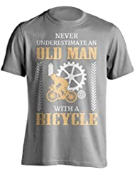 """Funny ciclismo camiseta """"nunca ignorar un anciano con una bicicleta"""" ciclismo camiseta–gran Idea de regalo para Dad, Brother, Uncle o un amigo en cualquier ocasión. Regalo de cumpleaños, regalo del día del padre y de Navidad regalo..., gris"""