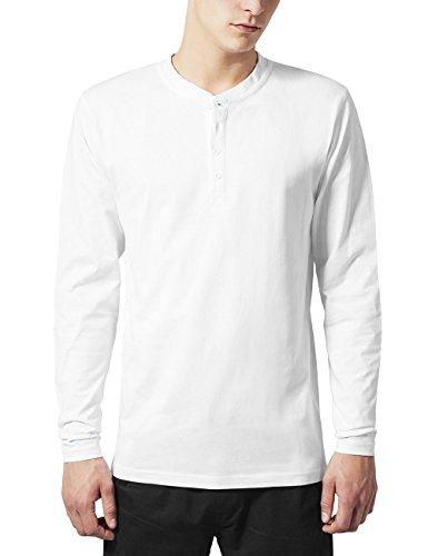 Urban Classics Herren Basic Henley L/S Tee Sweatshirt, Weiß (White 220), X-Small -