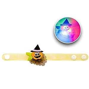 Carnival 08245-Pulsera Halloween con calabaza/luces, goma, de sobre con puente, batería incluida