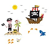 Eurographics WS-AWI1023 Fenster-Sticker wiederverwendbar, Pirates Of The Window  25 x 70