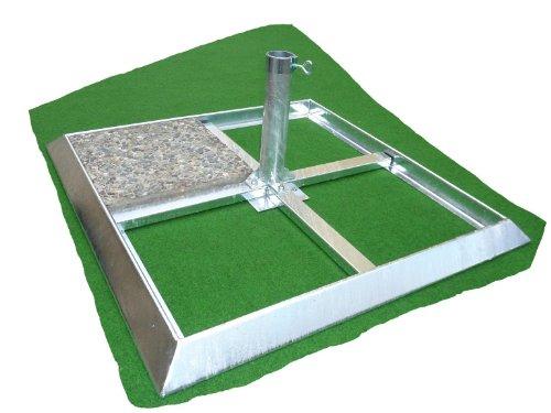 Sonnenschirmständer - aus 4,5 mm Ø DEUTSCHEM STAHL - MANHATTEN - GROßSCHIRME - PLATTEN- SCHIRMSTÄNDER - Metallrahmen 4,5 mm Stärke - 80 µ feuerverzinkt - mit ROHREN für Großschirme von Ø 50 - 80 mm - (Schirmgröße und Schirmstockdurchmesser Ø zur Fertigung angeben bei Bestellung) zum Einlegen von Betonplatten 40 x 40 cm - MADE in BADEN -WÜRTTEMBERG - Holly ® Produkte STABIELO - holly-sunshade ® - PRODUKTE MADE in BADEN WÜRTTEMBERG ® - IM PREIS enthalten VERSANDKOSTEN (69 EUR) enthalten -