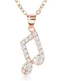 Ordoš - Collar de plata de ley 925 con diamantes de imitación, notas de pegamento