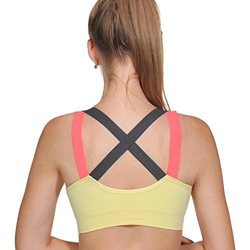 ACtex Frauen Candy Yoga BH Stretch Strap Medium Impact Sport Bras RacerRückseite mit abnehmbaren Pads S Gelb