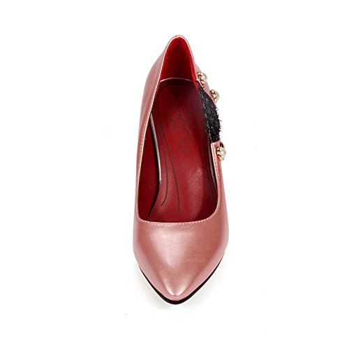 VogueZone009 Femme à Talon Haut Matière Souple Couleurs Mélangées Pointu Chaussures Légeres Rose