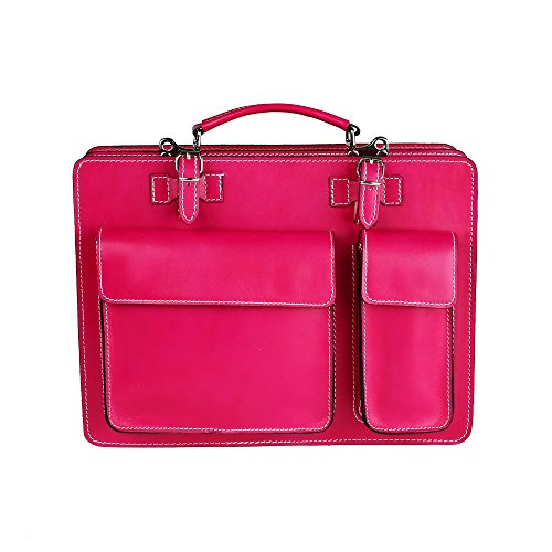 Chicca Tutto Moda CTM Porte-documents Sac à bandoulière rose Door Records hommes, 38x29x11cm, 100% cuir Made in Italy