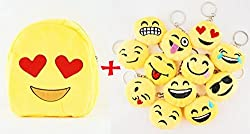 6goodeals, 12 inches Emoji Yellow Backpack Plush Toys for Kids, Set with 12 pcs Emoji Stuffed Keychain 1.5 inches Ring Soft Cushion Gift USA SELLER (Heart Eyes)