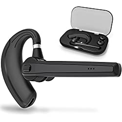 AZALLY Bluetooth Headset, Wireless Earpiece Bluetooth 4.1 for Cell Phones, In-Ear Piece Hands Free Earbuds Headphone w/Mic, Noise Cancelling for Driving, Compatible w/iPhone Samsung Cellphone-B1c
