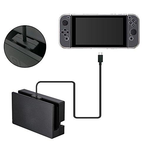 Odyssey Docking-station (Nintendo Switch Lade Kabel Station USB-C Verlängerungskabel, 10Gbps DatentransferGeschwindigkeit 1m - Schwarz)