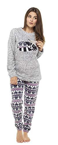 Pijama de pijamas cómodos pijamas Snuggle pijamas cálidos pijama Twosie Set | Desgaste de lujo del salón suave para las mujeres para las mujeres (XL, mapache soñoliento gris)