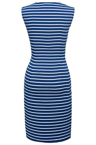 CRAVOG Damen Casual Gestreift Bodycon Midikleid Sommerkleid Partykleid Businesskleid Weiß