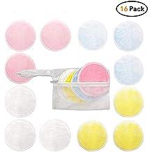 Lefu - Paquete de 16 almohadillas removedoras de maquillaje con bolsa de lavandería para toallitas para