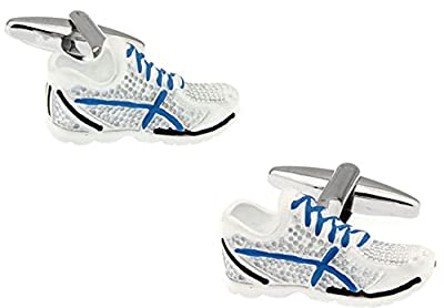 A Pair of Running Shoes Cufflinks YH-1914 in a FREE Luxury Star Cufflinks Presentation Box. Novelty Running Athletics Theme Jewellery