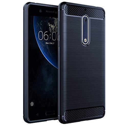 """GeeRic Für Nokia 5 Hülle, Blau Silikon Handyhülle für Nokia 5 Handy Schutzhülle Karbon Look Elastisch Stylisch Soft Case Cover 5.2"""""""