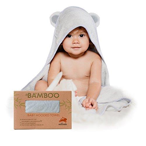 Natemia Baby Kapuzentuch aus Bambus Rayon   Sehr saugfähiges, weiches, bakterielles & geruchsresistentes Handtuch   Für Jungen, Mädchen, Neugeborene & Kleinkinder   Tolles Babyparty Geschenk