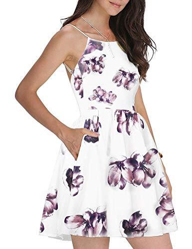 FANCYINN Damen Sommerkleid Armellos Spaghetti-Armband Kleider Elegant Rückenfreies Kurze Kleid Minikleid Rosa XL(46) -
