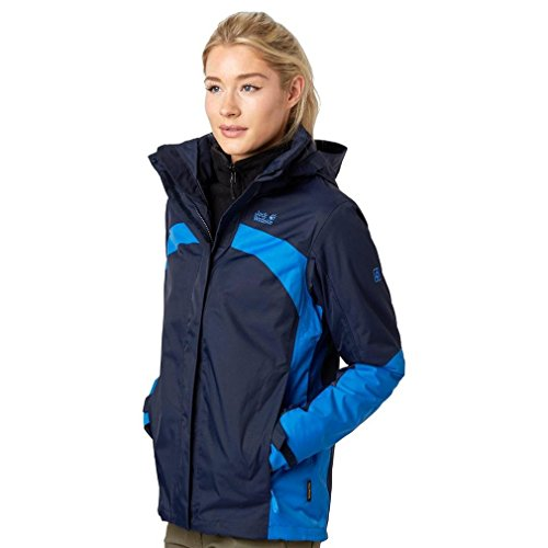 Jack Wolfskin Risco 3-in-1 Damen Jacke, Marineblau, XL