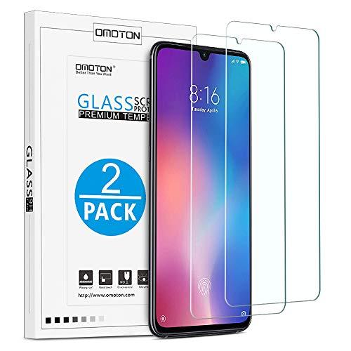OMOTON Protector Pantalla Xiaomi Mi 9 Cristal Templado Xiaomi Mi 9, Borde 2.5D, Definición HD, Sin Burbujas, Sin Despegamiento, Transparente [2 Piezas]