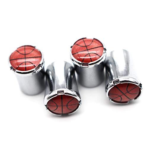 Taillenförmige Reifenventilkappen (4 Teile/Satz) Zinklegierung, Universal Basketball Style Vorbauabdeckungen für VW Audi Toyota Honda BMW Benz (Silber)