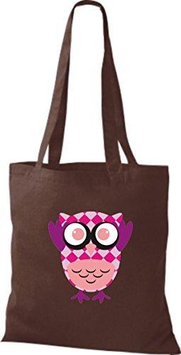 ShirtInStyle Jute Stoffbeutel Bunte Eule niedliche Tragetasche mit Punkte Owl Retro diverse Farbe, schwarz braun
