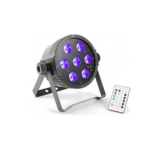 beamz FlatPAR LED-Scheinwerfer Beleuchtung RGBA-LED-Strahler mit Fernbedienung (7x18W LEDs, DMX, Dimmer, Flash-, Fade- Strobe - und UV-Licht-Effekt, zur Wand- und Deckenmontage) schwarz