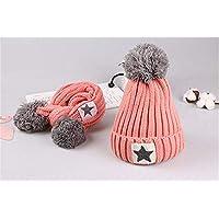 ETMAAA Kinder Fünf-Sterne Hut Schal Wolle Anzug Winter warme Kinder Cap