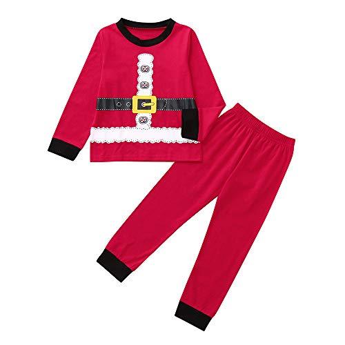 BaZhaHei Weihnachten Kleinkind Kinder Baby Jungen Mädchen Cartoon Weihnachten Tops Hosen Pyjamas Outfits Set Karikatur Mantel T-Shirt + Hosen Zweiteiliger Anzug Weihnachten Trainingsanzug