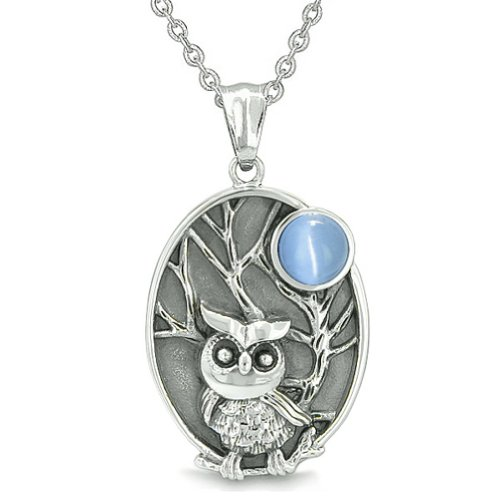 Amulet Owl and Wild Woods Magic Moon Charm Aqua Blue Cats Eye Crystal Pendant 22 Inch Necklace (Blue Charm Blue Moon,)
