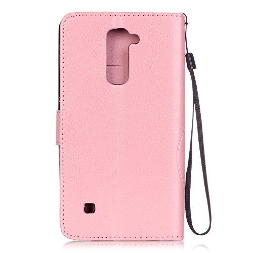 Coque Etui pour LG G Stylo 2 /LG G Stylus 2 LS775, LG G Stylo 2 Coque en Cuir Portefeuille Flip Etui Housse, LG G Stylus 2 LS775 PU Cuir Coque Folio Stand Etui Wallet Case Cover, Ukayfe Etui de Protec Motif de papillon--Rose
