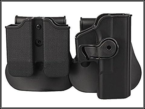 Rechte Hand Pistolenholster für GLOCK 17/22/31 und doppelt Magazintasche